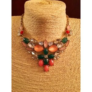 Multi Color Gold Crystal Bib Statement Necklace